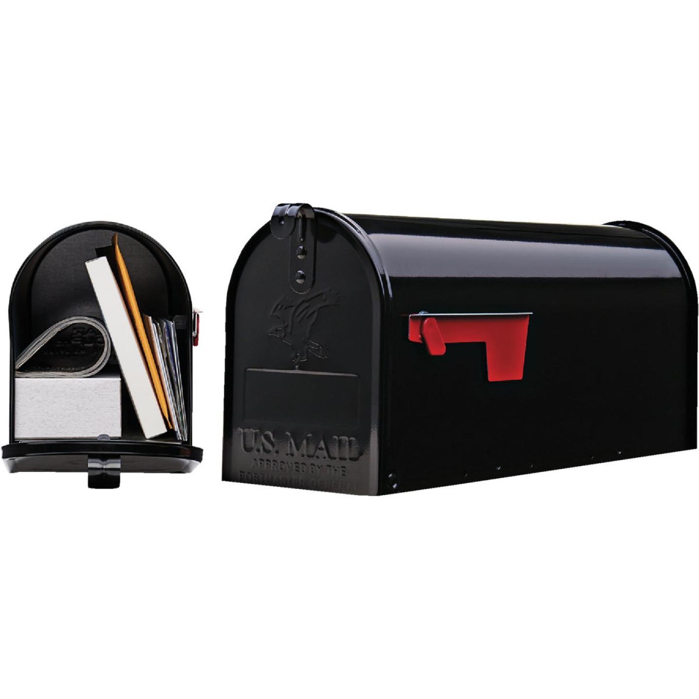 Gibraltar Elite Series T1 Black Steel Rural Post Mount Mailbox Image 1