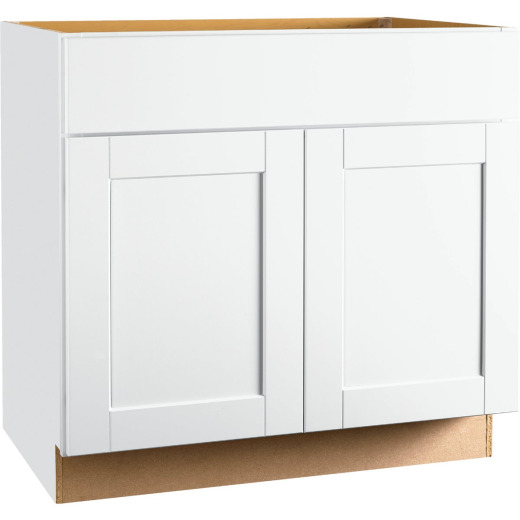 Continental Cabinets Andover Shaker 36 In. W x 34-1/2 In. H x 21 In. D White Vanity Base, 2 Door