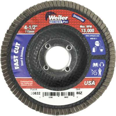 Weiler Vortec 4-1/2 In. x 7/8 In. 80-Grit Type 29 Angle Grinder Flap Disc