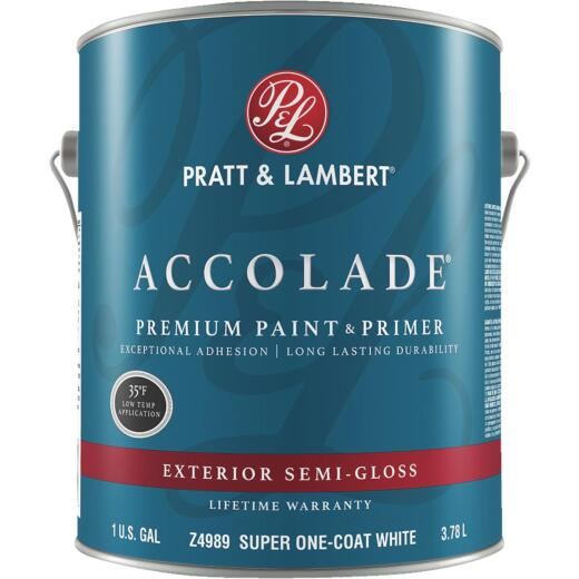 Pratt & Lambert Accolade 100% Acrylic Paint & Primer Semi-Gloss Exterior House Paint, Super One Coat White, 1 Gal.