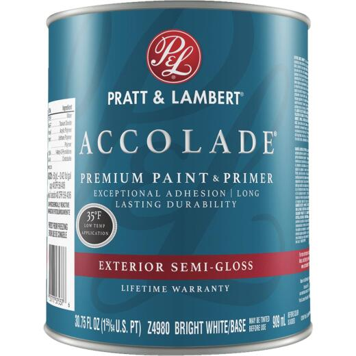 Pratt & Lambert Accolade 100% Acrylic Paint & Primer Semi-Gloss Exterior House Paint, Bright White Base, 1 Qt.